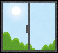 窓の外の天気のイラスト(朝)