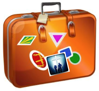Suitcase with travel stickers including family at the cross