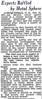 Experts Baffled by Metal Sphere - Spokane Daily Chronicle 12-19-1950