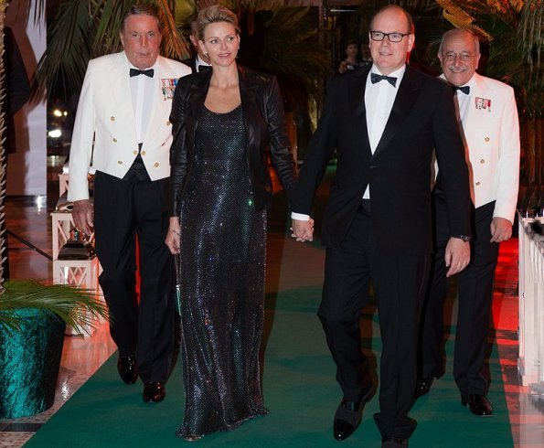 Princess Charlene wore Ralph Lauren gown from 2018 collection and she wore Ralph Lauren black leather jacket from Fall 2017 collection