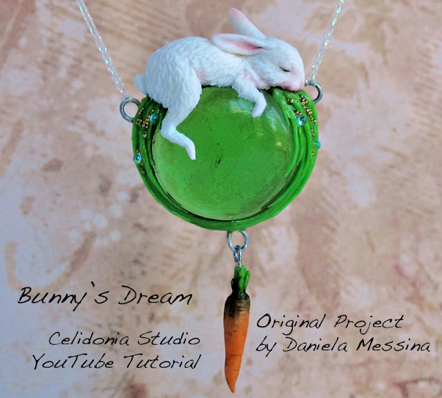 Polymer Clay Pendant Bunny's Dream Video Tutorial