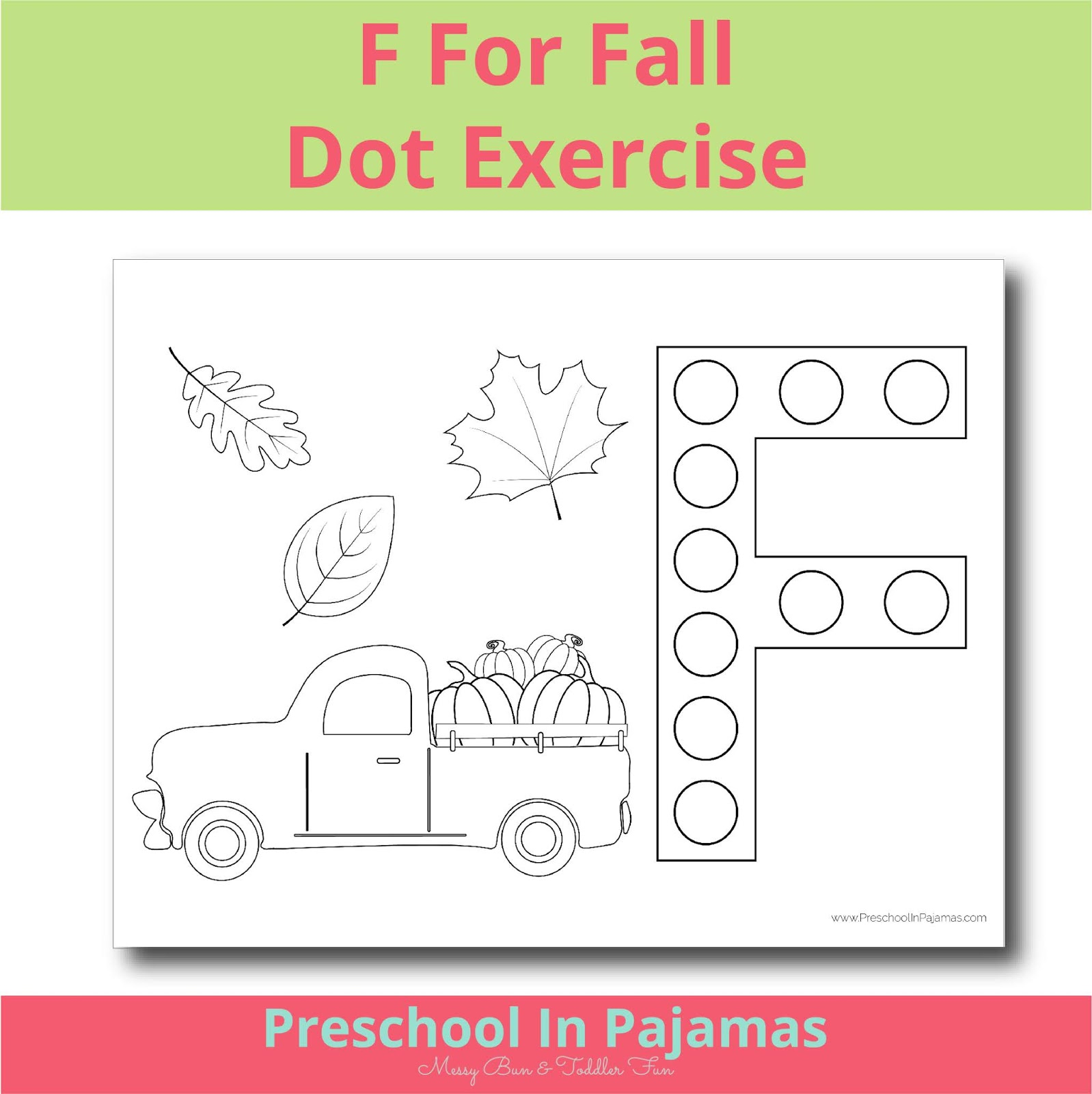Free F Is For Fall Dot Exercise Printable Worksheet