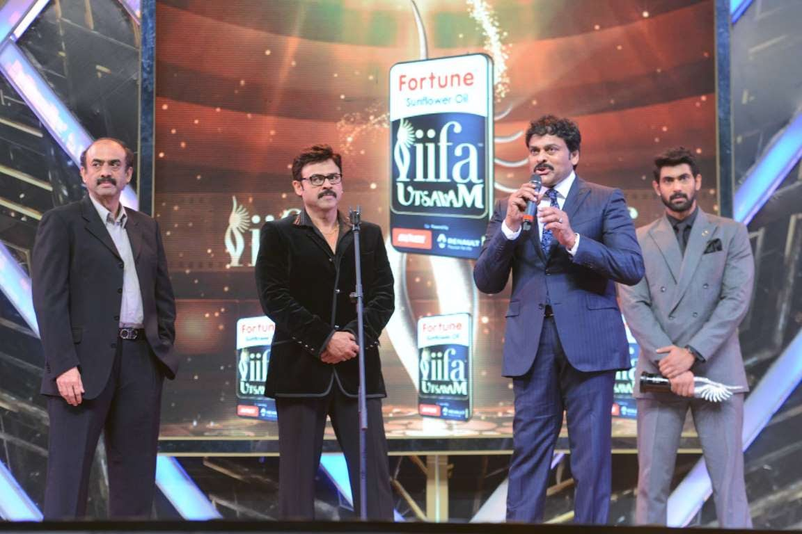 Chiranjeevi addresses the audience during IIFA Utsavam