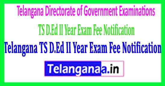 Telangana TS D.Ed II Year Exam Fee Notification