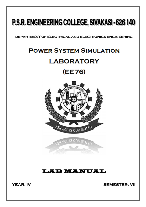 EE2404 POWER SYSTEM SIMULATION LAB MANUAL PDF