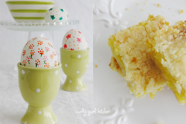 Lemon Bars with Crumb Topping, and Easter Egg Painting with Gel Food Colors