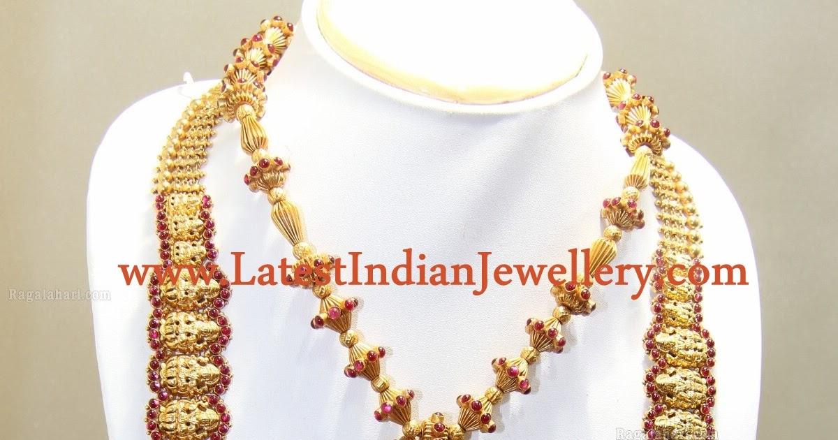Traditional Temple Jewellery Haram Set In 22 Karat Gold