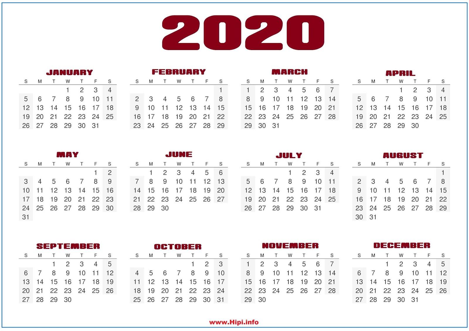 Calendar Wallpaper 2020 Twitter Headers / Facebook Covers / Wallpapers / Calendars: 2020