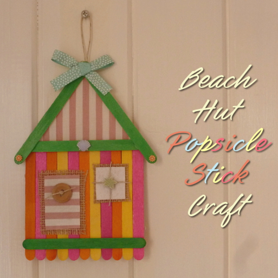 Beach hut home house design made with wooden colored popsicle craft sticks, hessian and buttons