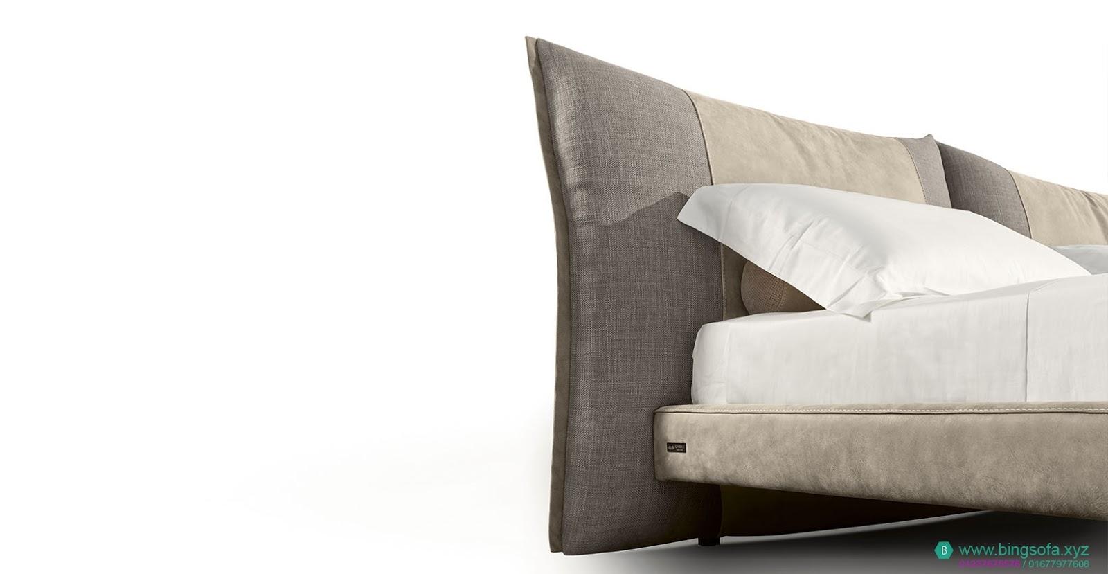 Mẫu giường bọc nỉ vải kết hợp GN26