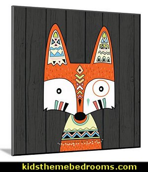 Tribal Fox wall art modern style Southwestern - American Indian theme bedrooms - southwestern baby bedroom wall decor southwestern style nursery decorating ideas