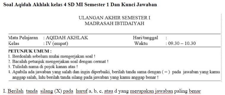 Soal Madrasah Ibtidaiyah Guru Ilmu Sosial