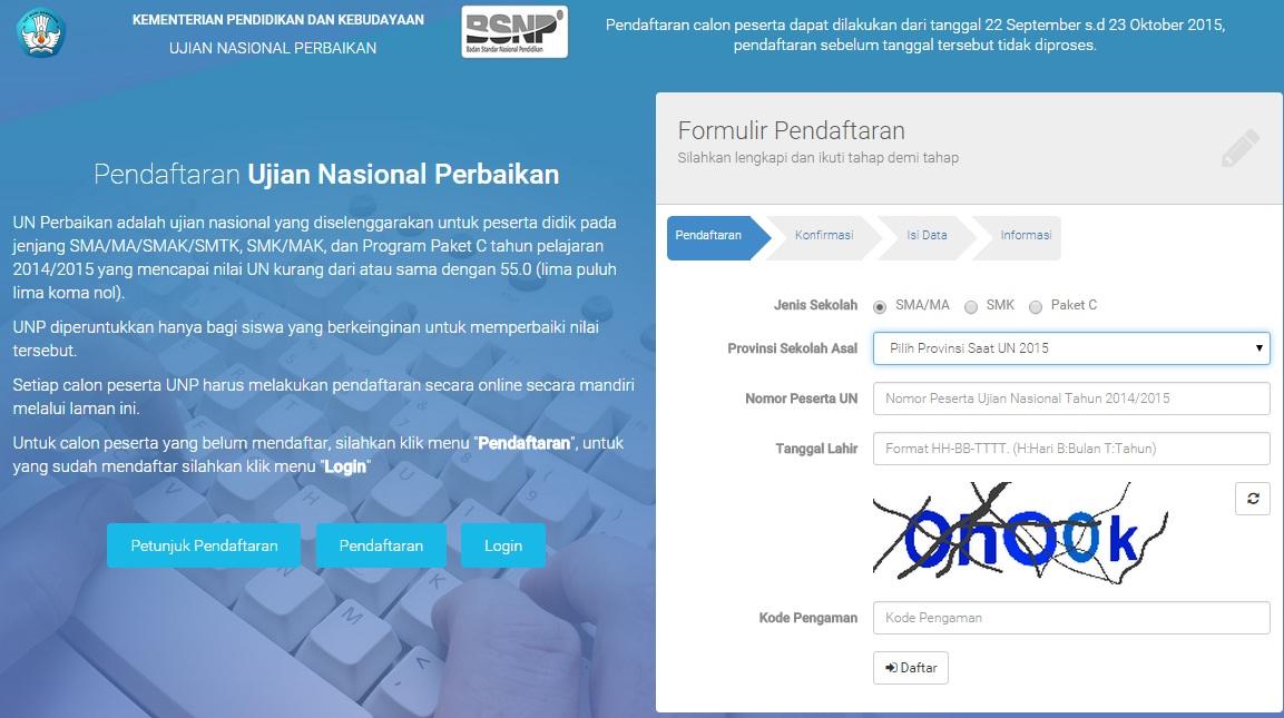 Petunjuk Pendaftaran Ujian Nasional Perbaikan Online