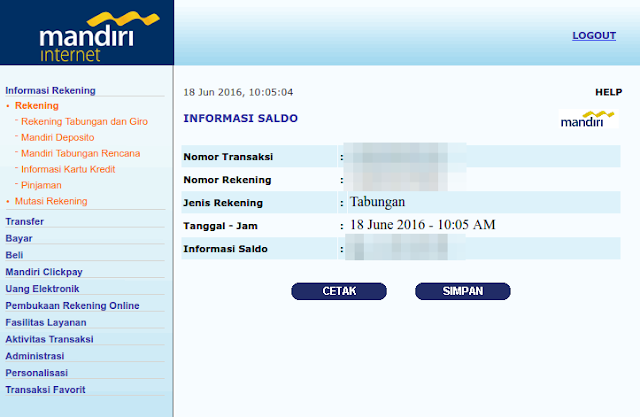 User Interface Internet Banking Mandiri