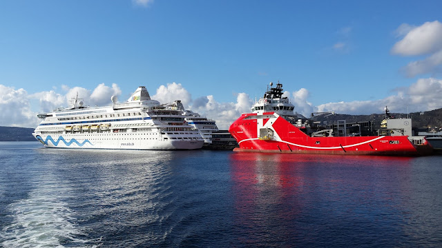 Cruise ships AIDAcara AIDAvita in Bergen, Norway; fjords cruise