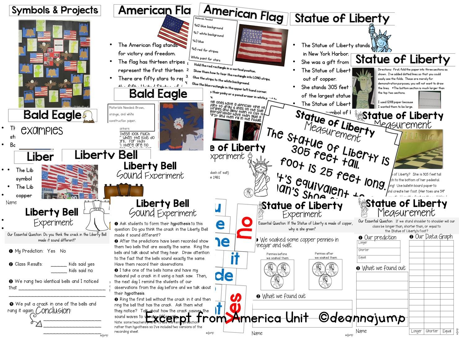 American symbols for kids in kindergarten and first grade [ 1092 x 1480 Pixel ]
