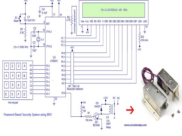 Password based Digital Door Lock system using 8051 micro controller