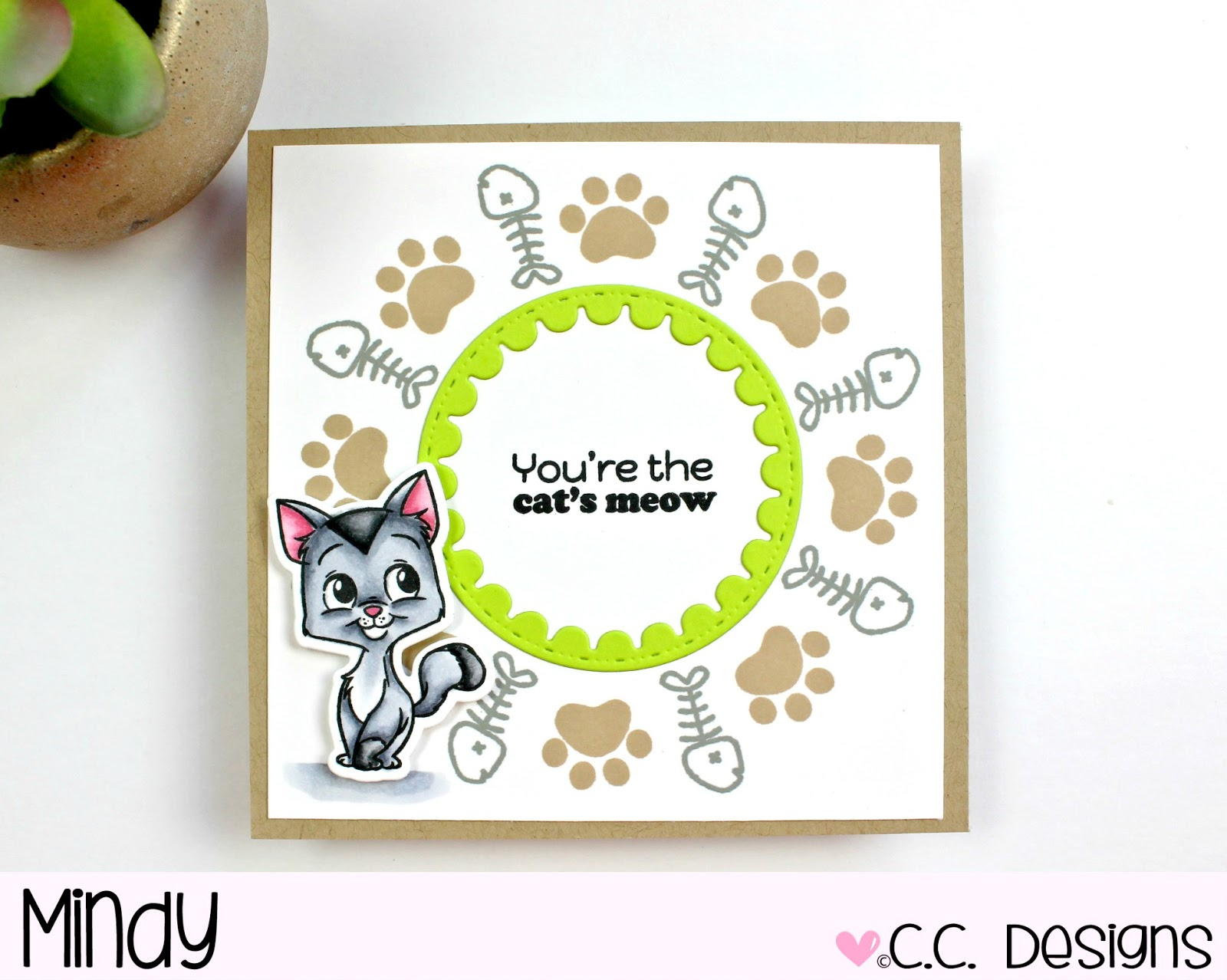 I Stamped My Pawprint In Kraft Ink And Fishbone Moonlit Fog Die Cut The Circle Scallop From Key Lime Cardstock For A Pop Of Color