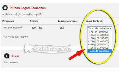 Tarif Bagasi Terdaftar Wings Air Rute Belitung-Bangka