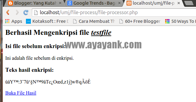 Proses enkripsi isi file teks dengan php Mcrypt