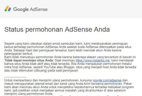 Rahasia Sukses Ditolak Google Adsense dengan Mudah