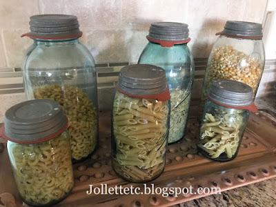 Blue ball jars from Mary Frances Jollett Davis https://jollettetc.blogspot.com