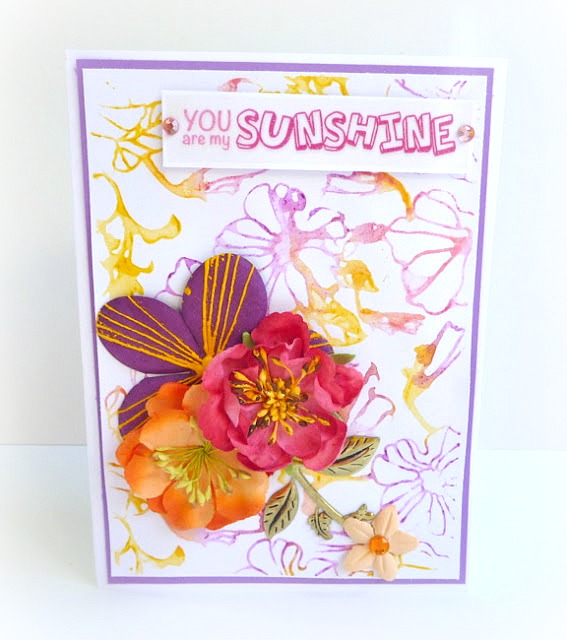 Pink, Purple, and Orange Floral Card with Watercolor Background