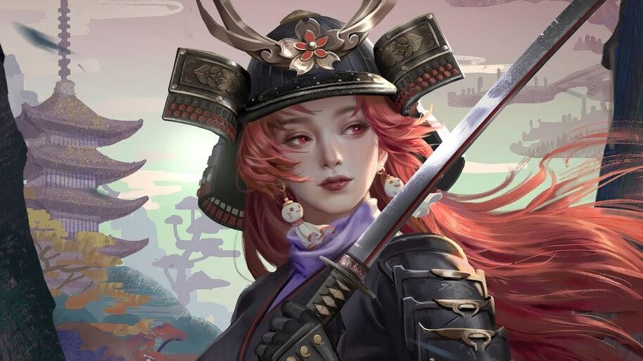 Samurai, Beautiful, Girl, Katana, 4K, #6.775