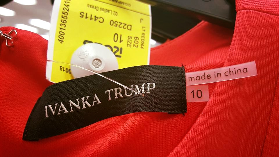 Ivanka Trump's clothing line is manufactured in a Chinese sweatshop that  makes its employees work 60 hour weeks for around 62 dollars.