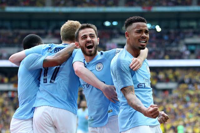 Gabriel Jesus, Bernardo Silva and De Bruyne Manchester City