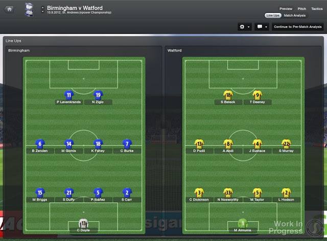 FM 2013 Tactics screen before the match