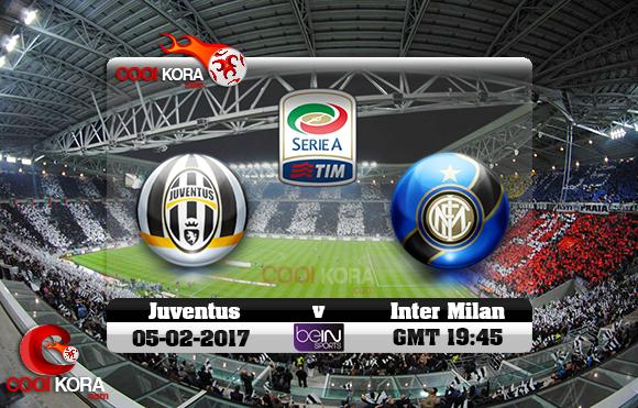 مشاهدة مباراة يوفنتوس وإنتر ميلان اليوم 5-2-2017 في الدوري الإيطالي