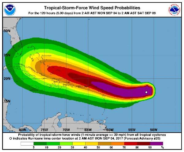 Vídeo avance huracán Irma norte del Caribe