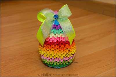 371. Jajo Wielkanocne w kolorach tęczy / 3d origami easter egg
