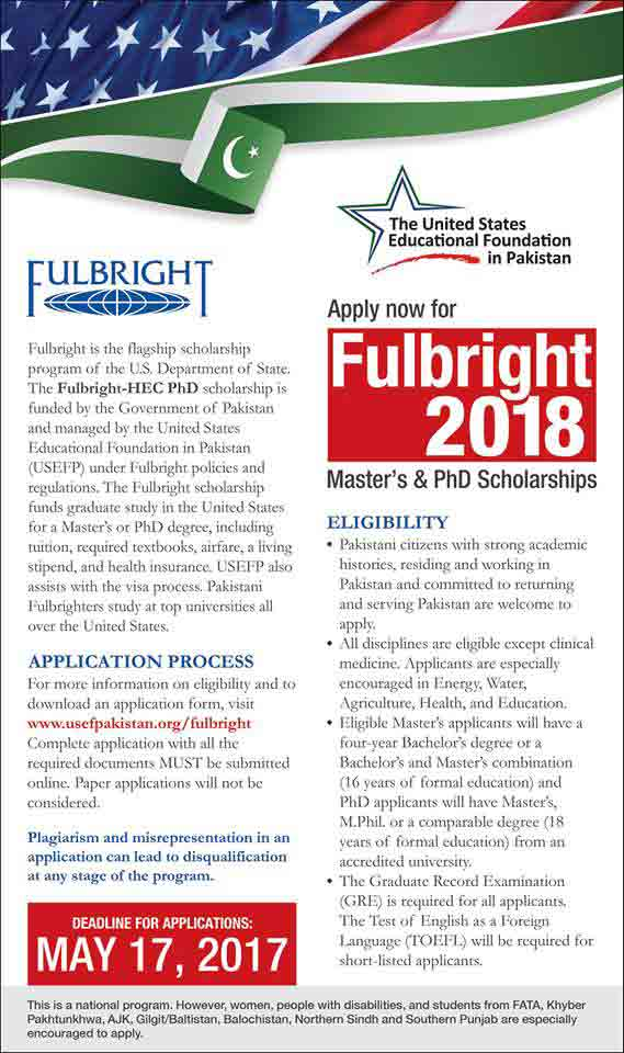 Fulbright Scholarships 2018 for Masters & Phd Pk Students