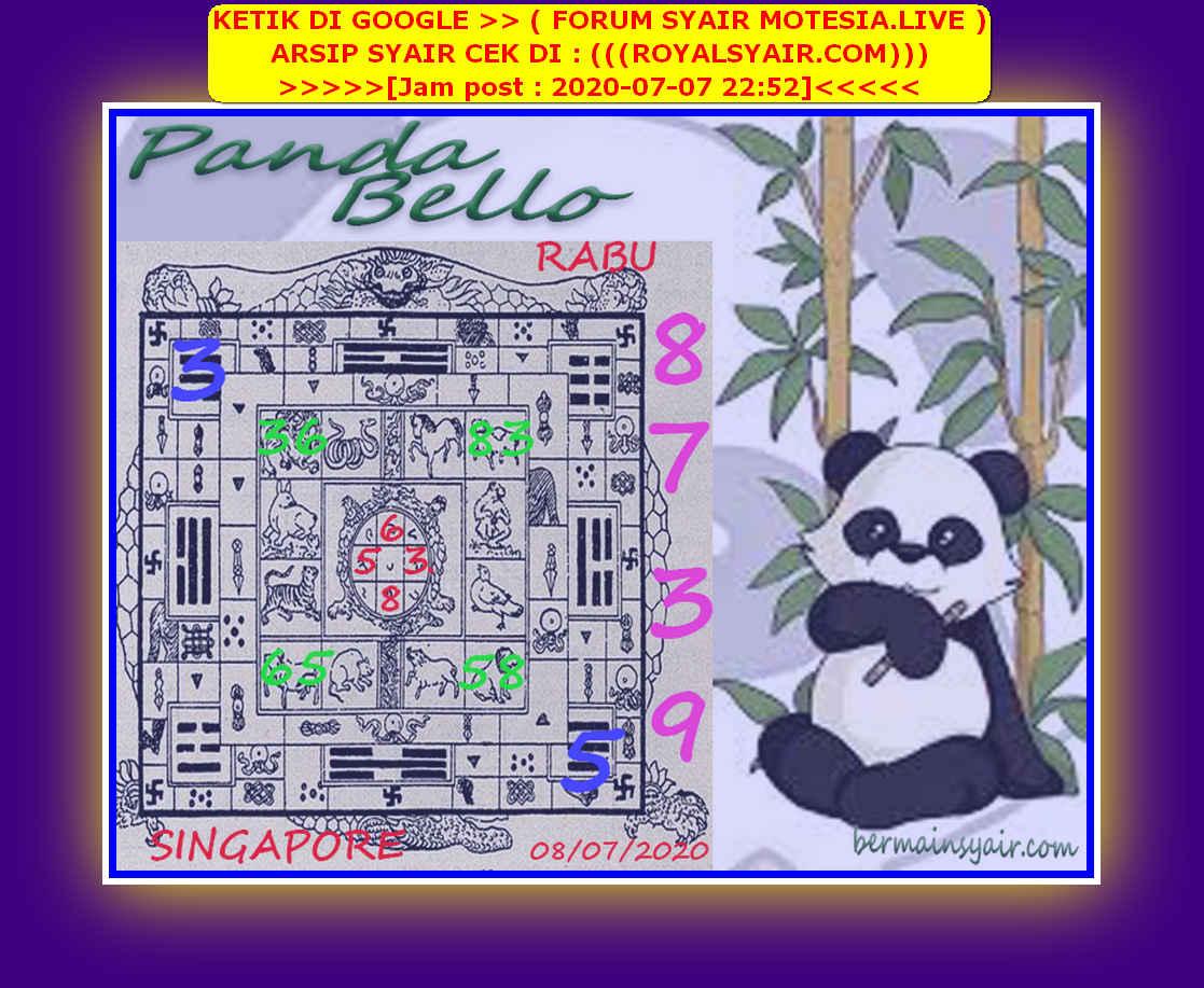 Kode syair Singapore Rabu 8 Juli 2020 241