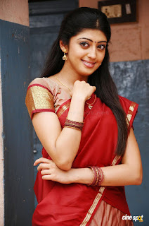 Praneetha Subhash Looking So Cute In Red Saree