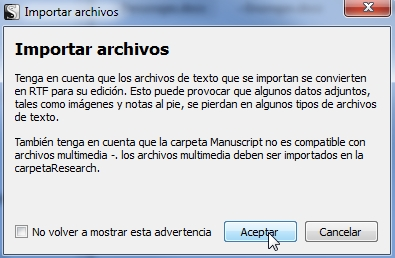 Aviso al importar archivos en scrivener