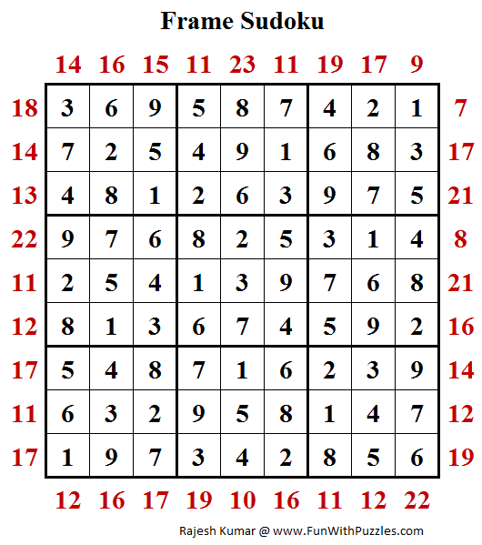 Sum Frame Sudoku (Daily Sudoku League #179) Answer