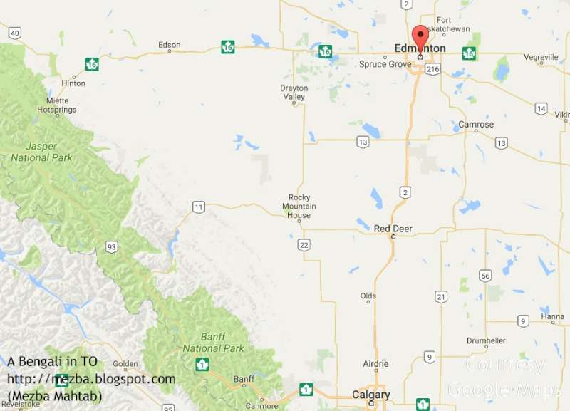 a bengali in TO Western Canada Diaries 13 Edmonton – Road Map of Western Canada