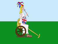 Cartoon of Britannia's chariot sans horses, by Wendy Cockcroft