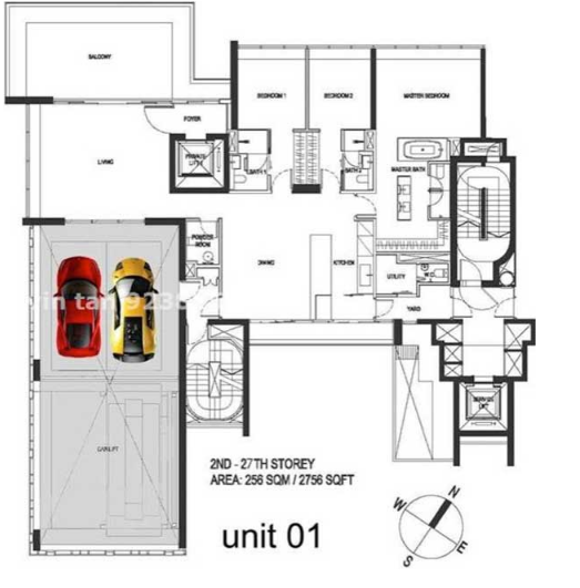 Hamilton Scotts 2nd- 27th storey Floor Plan