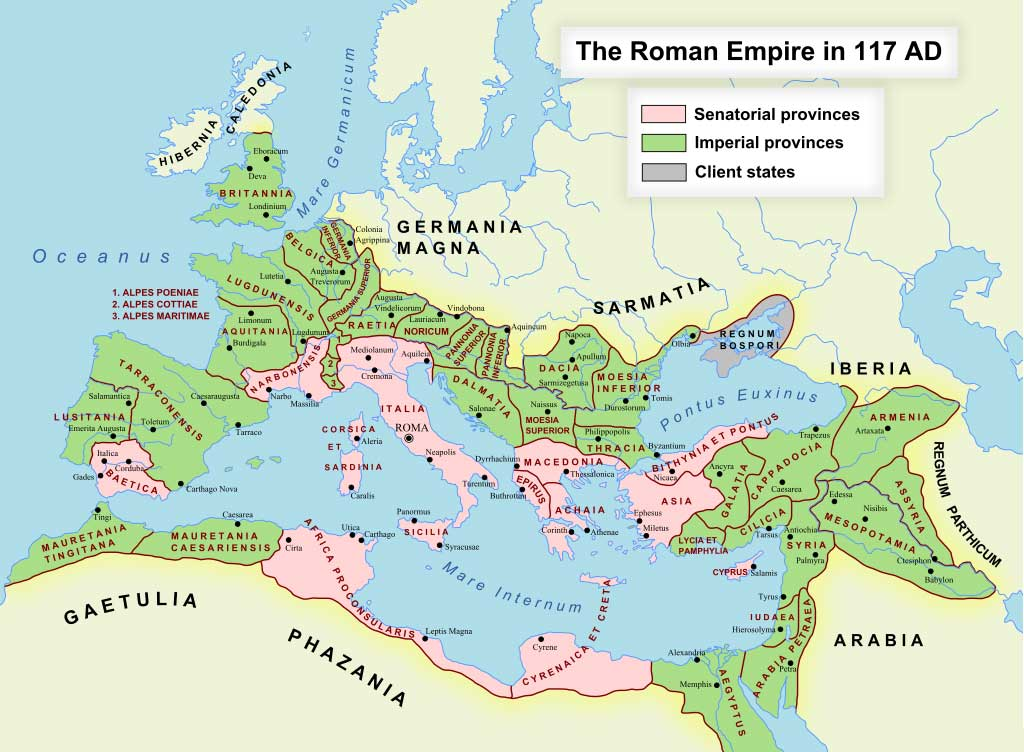 Map of Roman Empire during Antonine dynasty