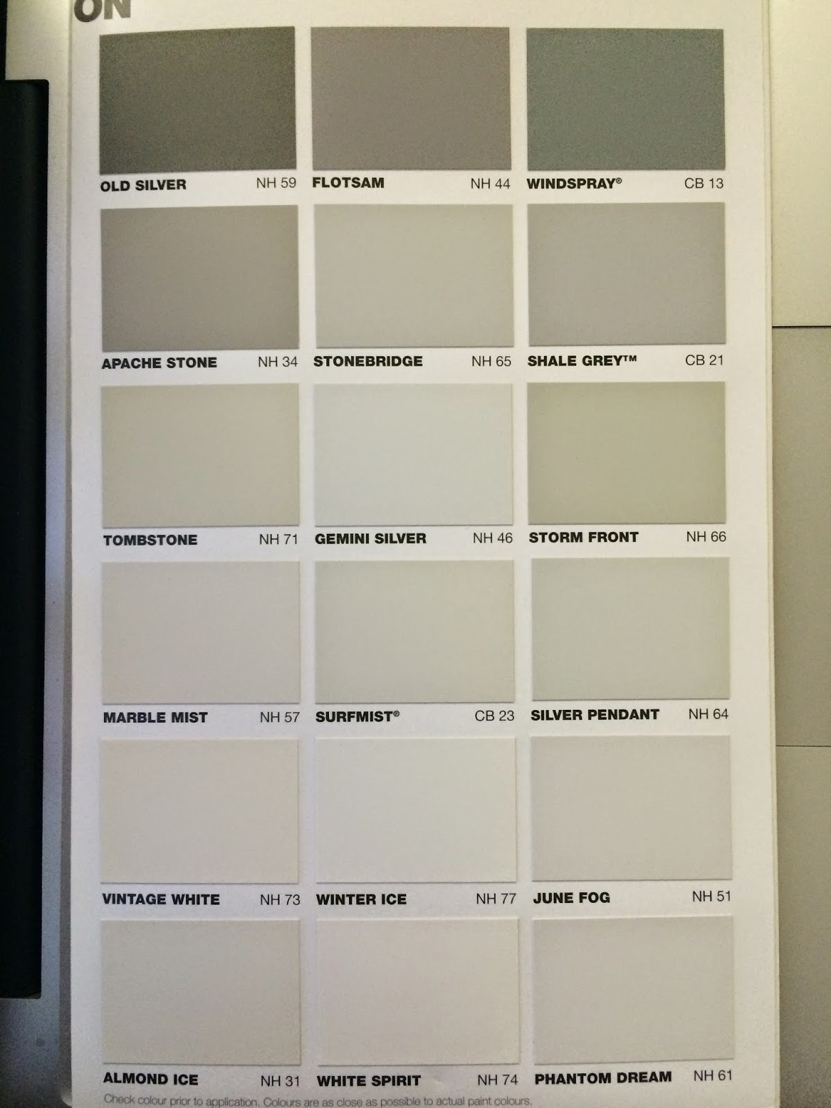 Taubmans Interior Paint Chart