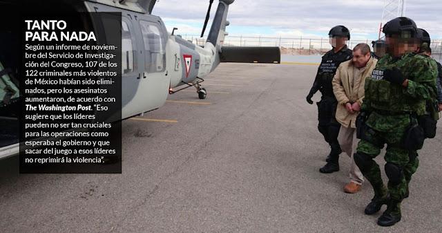 """2017 con fanfarrias por el arresto de """"El Chapo"""", pero descabezar cárteles"""