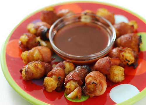 Bacon wrapped tater tots, BGE appetizer, game day snacks