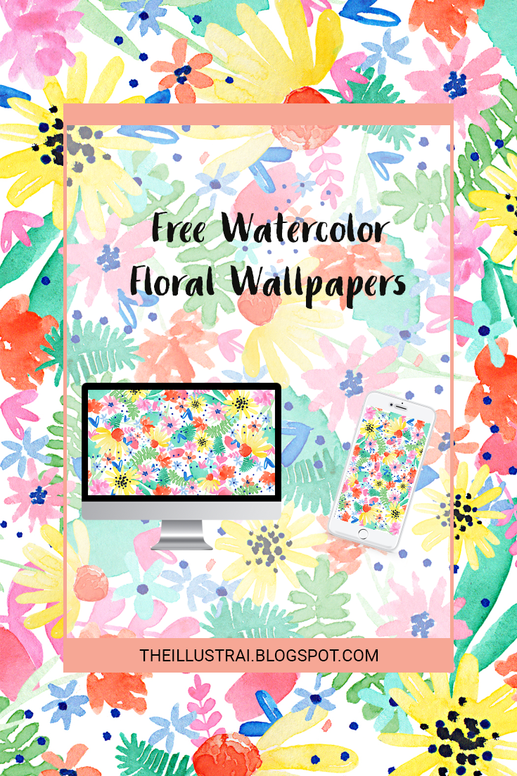 Dowload these free watercolor floral patterned wallpapers for your phone and desktop computer