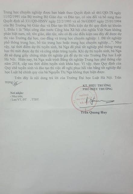 Công văn của Trường Đại học Luật Hà Nội