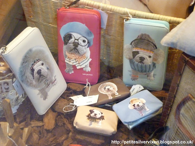 Window display of wallets & purses with pugs on them | Petite Silver Vixen