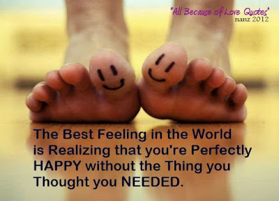 Smile Quotes images:The best feeling in the world is realizing that you're perfectly happy without the thing you thought you needed.
